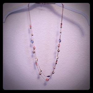 Faux varied gem long necklace
